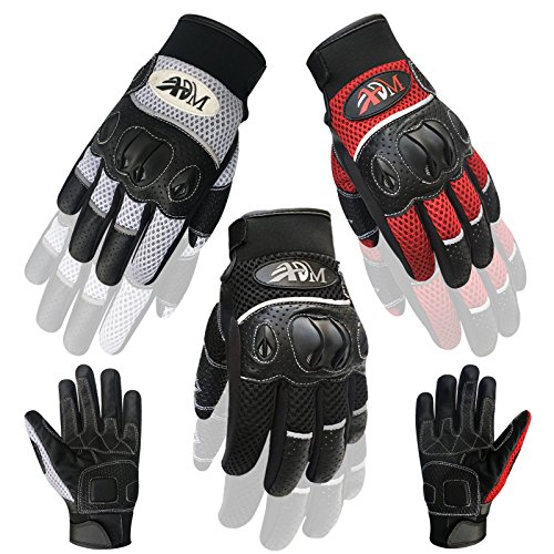 Full Finger Winter/Summer Motorbike Motorcycle Racing Motocross Pro Biker Riding Knuckle Protection Cow Leather Gloves 9011 (9011-Black/Red, L)