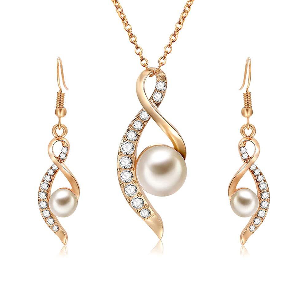 Topdo Conjunto de Collar y Pendientes con Boutique Damas Color Oro Collar  con Perla Colgante de 6e46ea074b9