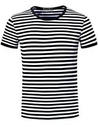 Men's Youth Short Sleeve Crew Neck Striped T Shirt Tee Outfits Tops