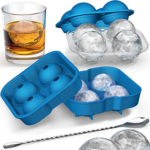 Ice Ball Mold with Stirring Spoon - Whiskey Ice Ball Maker for Husband - Includes Large and Small Sphere Ice Mold to Create Ice Balls - Round Ice Cube Mold, Ice Molds for Whiskey, Ball Ice Cube Mold