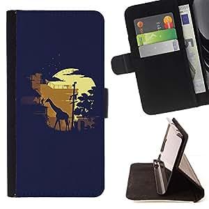 For HTC One M8 Case , Moonlight Safari de la jirafa- la tarjeta de Crédito Slots PU Funda de cuero Monedero caso cubierta de piel