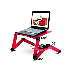 "18.89"" Laptop Stand, Adjustable Aluminum Laptop Stand Foldable, Ergonomic Laptop Stand Riser with Cooling Vents &Removable Mouse Pad, Compatible Holder for Apple MacBook Air, All Notebooks-Pink"