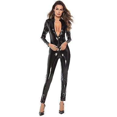 a34ef1637b222 dumanfs Women Sexy Leather Zipper Rompers Lingerie Plus Size Long Sleeve  Bodysuit Siamese Sleepwear Babydoll Clubwear
