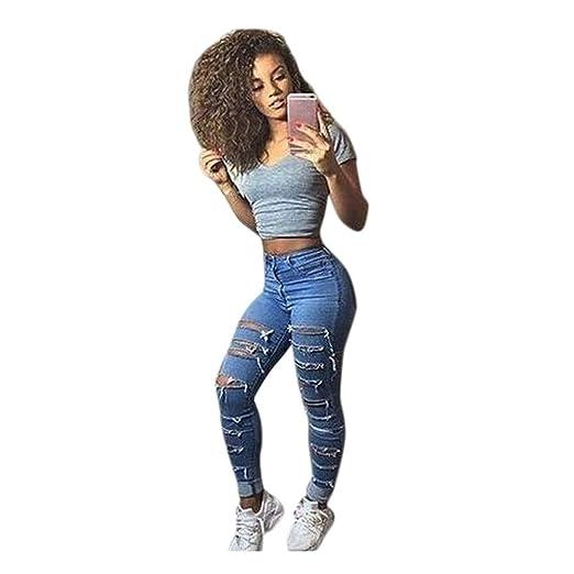 ad4685faf5582 Kehen Women Skinny Denim Distressed Fashion Ripped Boyfriend Jeans Stretchy  5 Pocket Destroyed Blue Jeans Pants