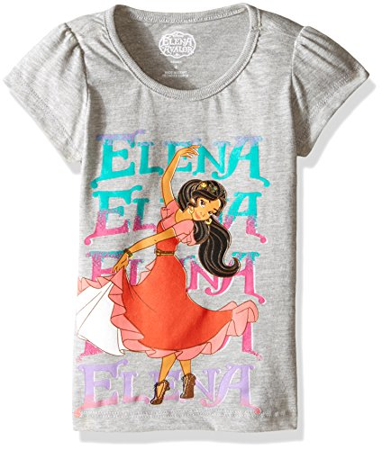 Disney Girls' Little Girls' Elena of Avalor T-Shirt, Grey, 6X