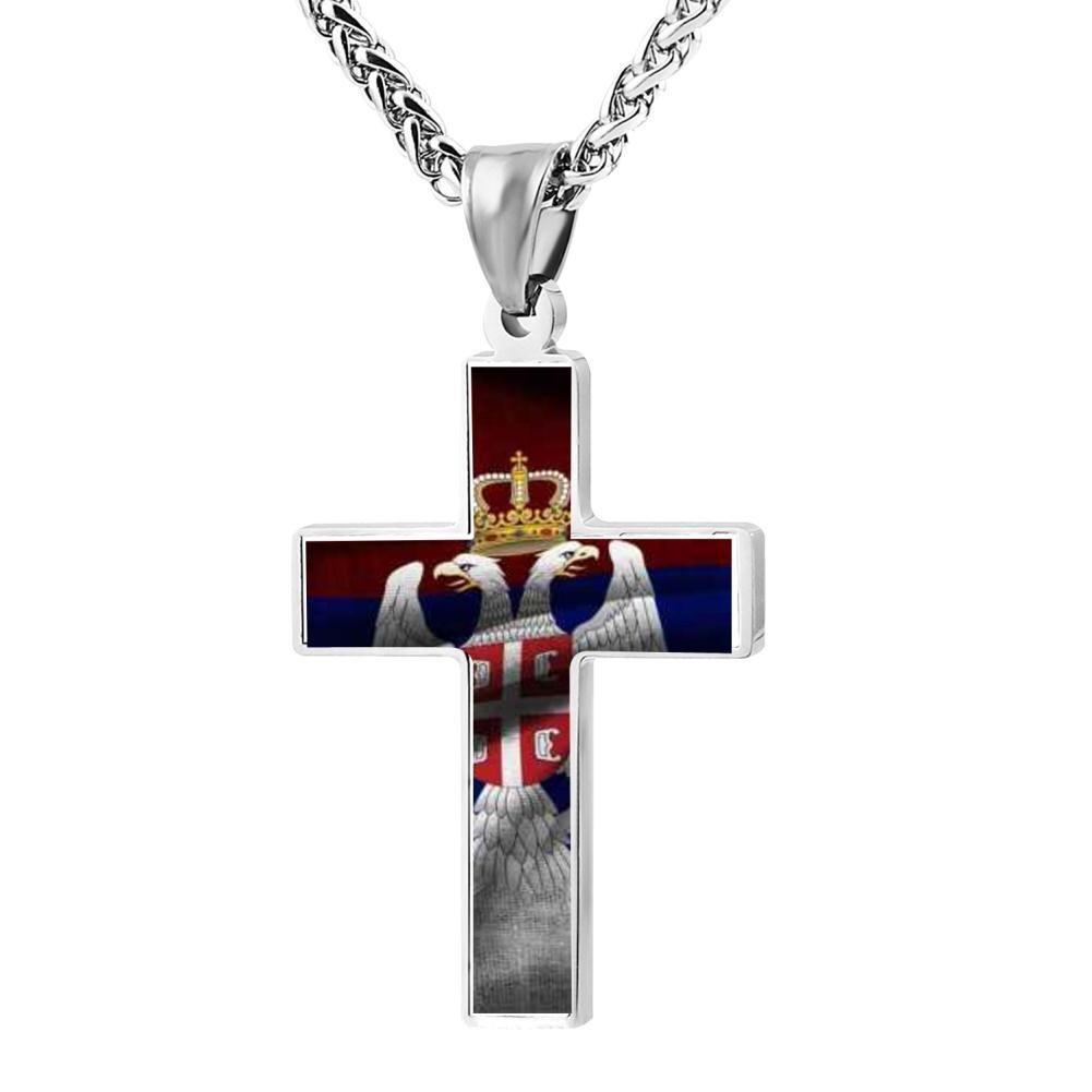 LUQeo Cross Necklace Serbia Christ Cross Necklace Pious Jesus Jewelry Pendant