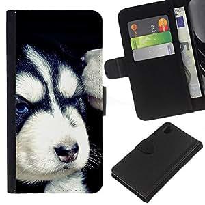 EJOY---La carpeta del tirón la caja de cuero de alta calidad de la PU Caso protector / Sony Xperia Z1 L39 / --Mal husky siberiano enojado Cachorro
