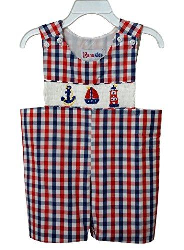 Dana Kids Little Boys Nautical Hand Smocked Shortall 6M to 4T (Nautical, 3T)