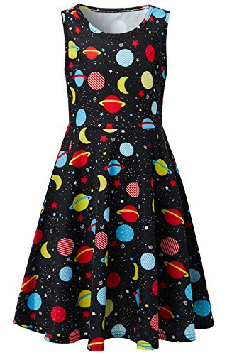 Girls Dresses Planets Black Space Fairy 8t 9t Kawaii Science Galaxy Floral Print Nice Ruffle Twirling Overalls Dress Belle Princess Formal Maxi Midi Tshirt Skirt Daily Shcool Home Casual Partywear