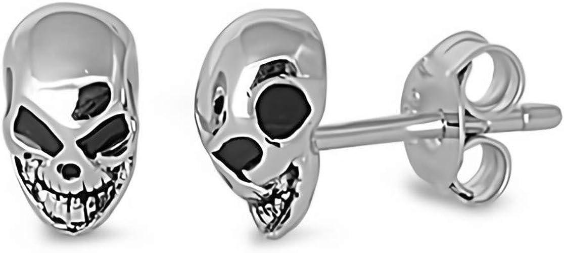 3mm Black Glitzs Jewels 925 Sterling Silver Cubic Zirconia CZ Stud Earrings for Women Square