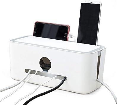 Caja De Gesti/ón De Cables Cable Organizador Del Alambre Del Ordenador Holder Hider Protector Con La Manga De Cable Para Centro De Entretenimiento Home Office Blanca 1pc