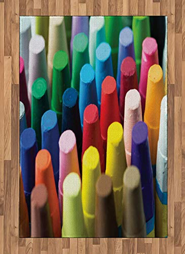 (Crayon Area Rugs 4'x5.7'ft,Focused Shot Macro Photography with Assorted Colorful Painting Elements Art Themed Rubber Backing Floor Carpet Throw Rug Runners for Bedroom Living Room, Multicolor)