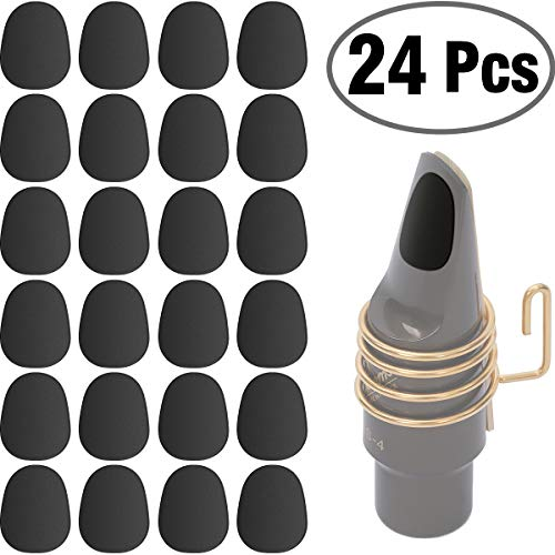 24 Pieces Eison Food Grade Alto Tenor Saxophone Mouthpiece Cushions Sax Clarinet Mouthpiece Patches Pads Cushions 0.8mm Thick Rubber Strong Adhesive, Black