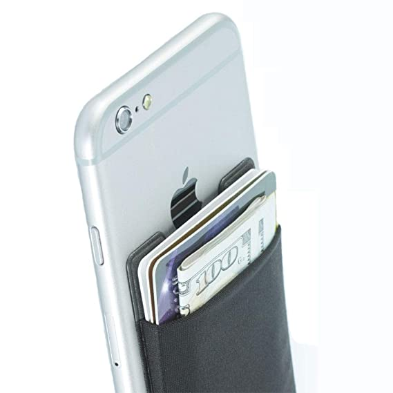 ea3cc83fe4d0 Cell Phone Wallet Case, Adhesive Phone Wallet,a Stick-On Stretchy Lycra  Card Holder Universally fits Most Cell Phones
