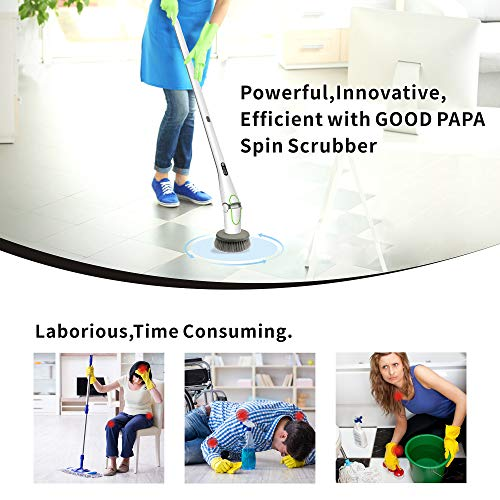 GOOD PAPA Electric Spin Scrubber, 360° Floor Scrubber Power Brush , 2 Speed HD LED Display, with 5 Replaceable Brush Heads Cleaning for Kitchen, Bathroom, Floor, Tile, Bathtub