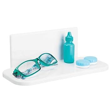mDesign Estante de baño autoadhesivo de plástico sin BPA – Estantería de ducha pequeña para el