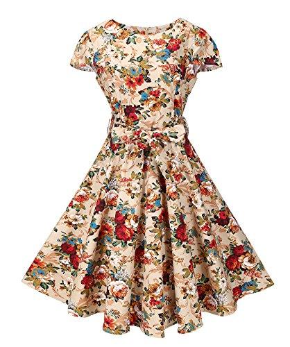 BI.TENCON Women's 1950s Vintage Cap Sleeve Apricot Floral Printed Retro Rockabilly Swing Cocktail Dress M
