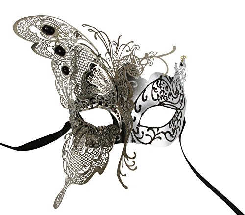 KAYSO INC The Butterfly Goddess Elegant Venetian Laser Cut Masquerade Mask (Silver)