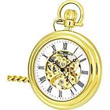 Stuhrling Original Pocket Watch 6053.33333 Special Reserve Montres de Poche Vintage Mechanical Skeleton Gold Tone Watch