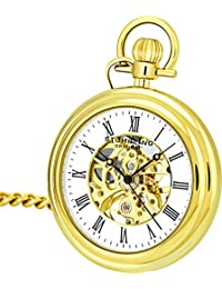 Men's 6053.33333 Vintage Mechanical Skeleton 23K Gold Plated Pocket Watch