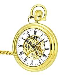 Stuhrling Original Pocket Watch 6053.33333 Special Reserve Montres de Poche Vintage Mechanical Skeleton Gold Tone Watch