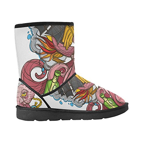 D-Story Fashion Womens Shoes Skull Womens Snow Boots Color14 P30gcO
