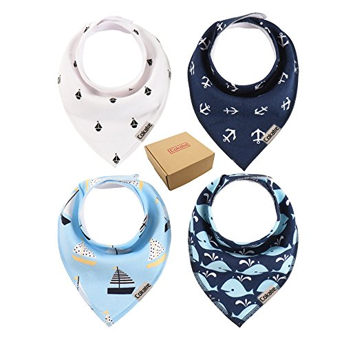 Cokatre Baby Bandana Drool Bibs, Unisex 4 Pack Gift Set for Drooling and Teething, 100% Organic Cotton, Soft and Absorbent, Hypoallergenic - With Snaps for Boys & Girls (White, Blue) Toddler