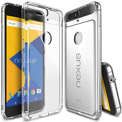 Ringke Fusion Compatible with Nexus 6P Case Clear PC Back TPU Bumper with Screen Protector Drop Protection, Shock Absorption Technology Attached Dust Cap for Huawei Nexus 6 P - Clear (With Case Stand Clear Nexus 6)
