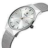 Tamlee Fashion Casual Brand Men's Quartz Watch Date Mesh Steel Strap Ultra Thin Dial Clock (White)