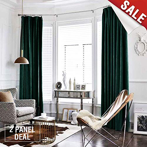 jinchan Green Curtains Velvet Drapes Bedroom Window Curtains 84 Inch Long Living Room Rod Pocket Window Treatment Set 2 Panels (Blackout Green Curtain Panels)