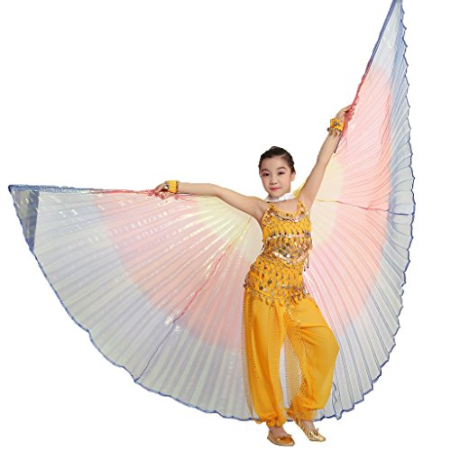 Fairy Tie Package (MUNAFIE Belly Dance Isis Wings Egyptian Egypt Isis wings Fancy Fairy dress for Children Kids (Only wing without sticks, Rainbow))