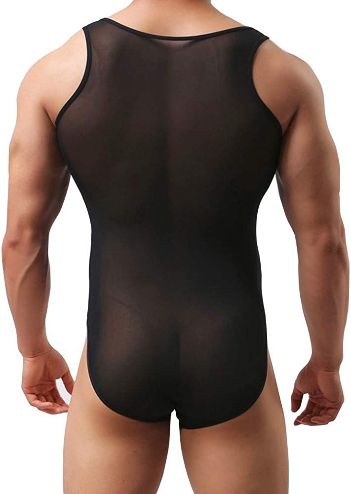 vastwit Mens Sheer Mesh High Cut Thong Leotard Bodysuit Gymnastic Wrestling Singlet Underwear