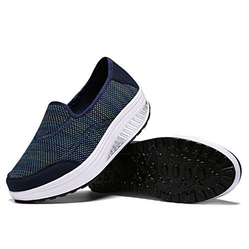 Zapatos de de Moda Casuales para Azul Sneaker Zapatillas Mujer Oscuro de Mocasines Zapatilla Plataforma Fitness Exterior Deporte Mujer rtprqxOfw
