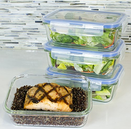 Premium 4 Sets Glass Meal Prep Food Storage Container