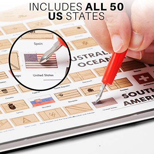 Outlet Julios Adventures World Travel Tracker Map With Free Flag - Scratch off us state maps with pencil