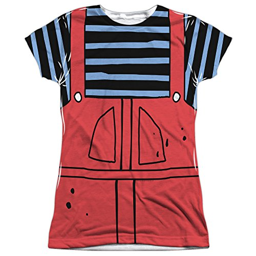 Dennis And Gnasher Costume (Dennis The Menace Dennis Costume Juniors Sublimation Polyester Shirt (White, Large))