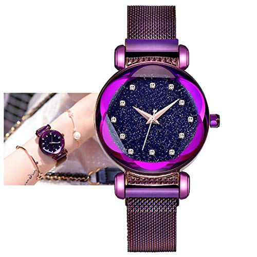 (Ladies Watch New Fashion Star Watch Waterproof Casual Purple Bracelet Watches Stainless Steel Mesh Belt with Unique Magnet Lock, no Buckle (A))