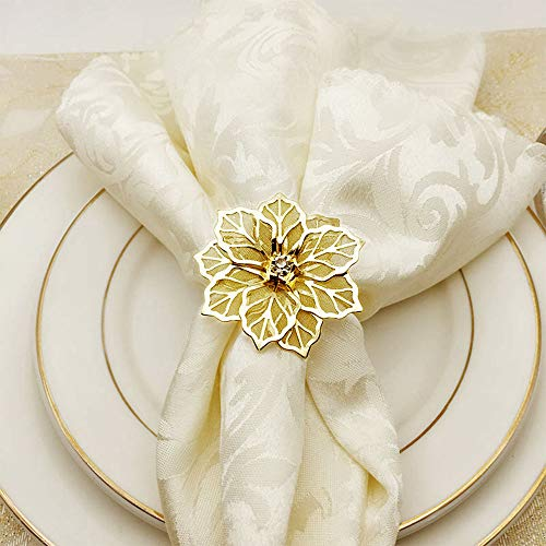 JYCRAFT Gold Color Flower Shape Table Napkin Ring, Hollowed-Out Flower, Inlaid with Rhinestone, Glam Bling Metal Napkin Rings Set (6) ()