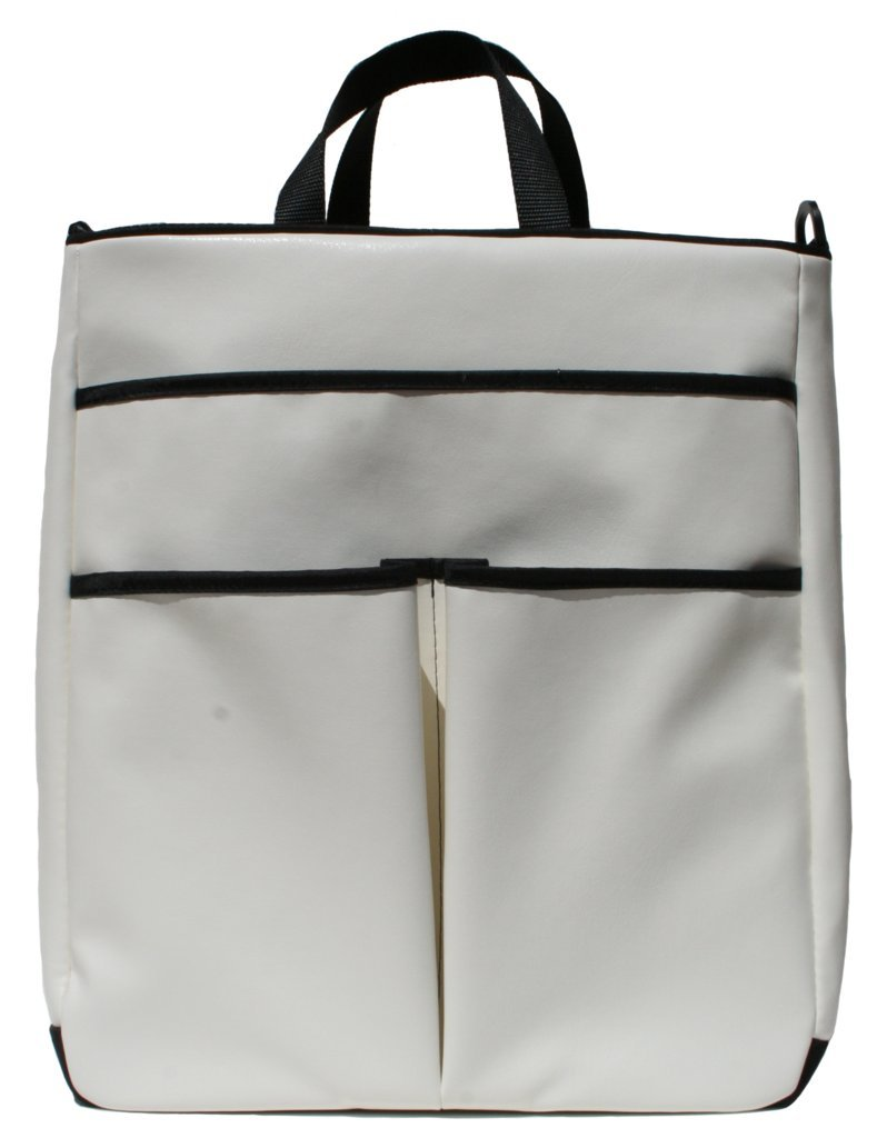 40 Love Courture Sophi Tennis Tote Bag - White Faux Leather with Black Lining