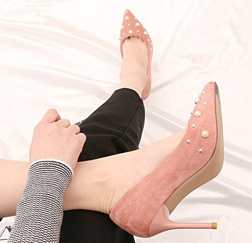 Lady Mouth Shoes Match All Shallow Leisure Pink 5Cm Shoes Elegant Spring 8 With A Work 35 Fine Occupation Pearl MDRW Orange Sexy Heels wfpqdAp