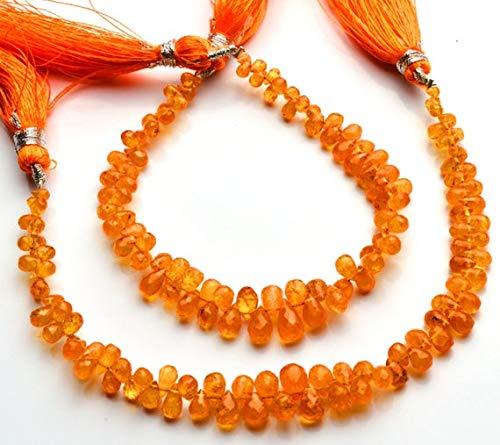 GemAbyss Beads Gemstone 1 Strand Natural Spessartine Garnet Facet 2x4 to 4x6MM Teardrop Shape Briolette 6 Inch Code-MVG-4546