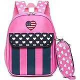 Child Star Striped Heart Dot Backpack Toddler School Bag kids backpack boys toddler kids backpack (Pink)