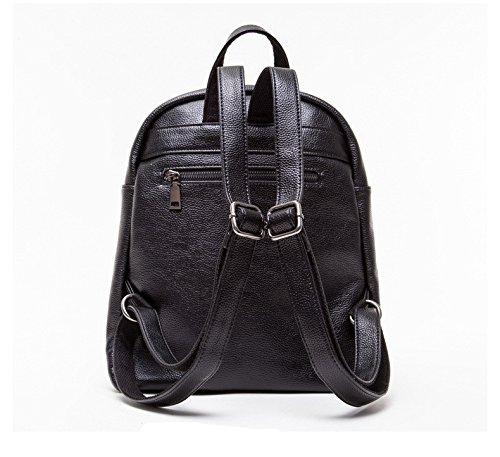 WTUS Mujer estudiante es la chica de moda de 2017 la mochila con cremallera de lichi Pu viajar mochila mochila para mujeres negro
