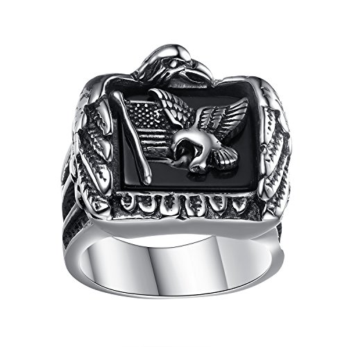 LineAve Mens Stainless Steel American Flag and Eagle Ring, Size 7-15