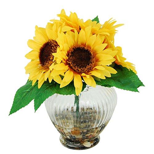 LCG Floral 16W83 Sunflowers in A Ribbed Glass Vase