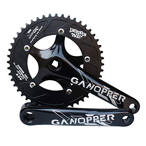 GANOPPER 48T Single Speed Fixie Fixed Gear Bike Chain Set Dual Chainring Design Road Track Bicycle Crankset 130mm BCD 175 Crank Arm (Black)