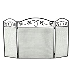 Costzon 3 Panel Fireplace Screen Foldable Home Fire Protection Furniture Decor by Costzon