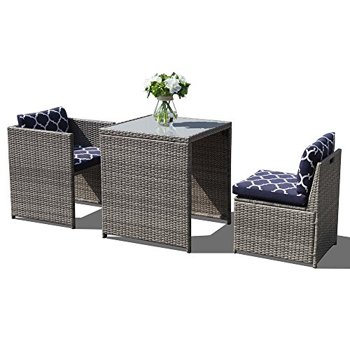 Orange Casual 3Pcs Outdoor Conversation Set Wicker Patio Furniture Sets with Glass Top Table & Space Saving Design