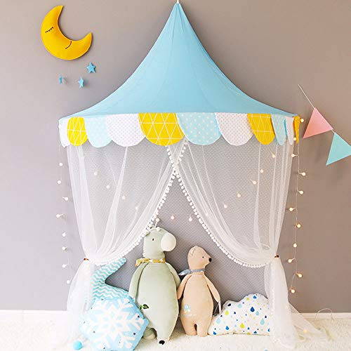 Net Bed Canopy Semi-Circular Multi-Functional for Kids Playing Reading Games House Netting Hanging, and Decorative Accessories,Blue (Circular Semi Canopy)