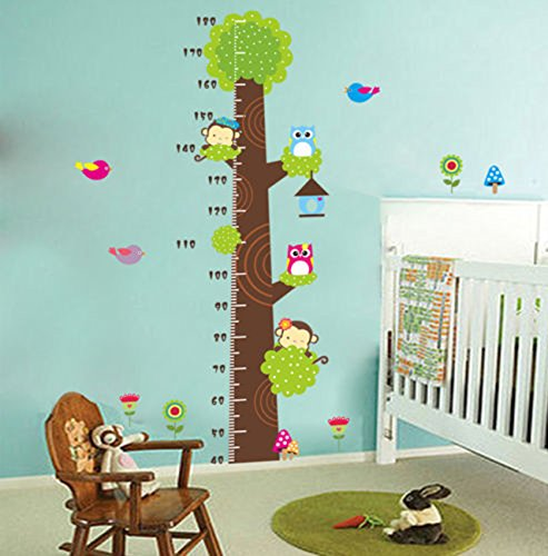 Monkey and Owls Wall Decal Removable Decor Sticker Height Measurement Growth Chart Tree for Boys & Girls Nursery Wall Playroom Children's Bedroom Decor (As the picture) - Heights Hall Tree